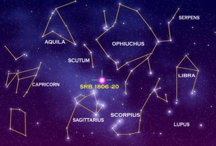 Gwiazdozbiór Skorpiona wśród innych gwiazdozbiorów, © NASA